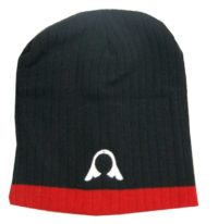 Warrior Beanie Blk/Red with Helmet Logo