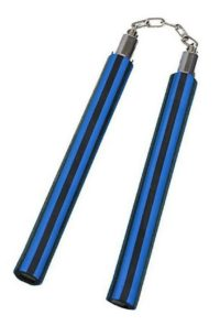 Nunchaku Foam Blue & Black Stripes