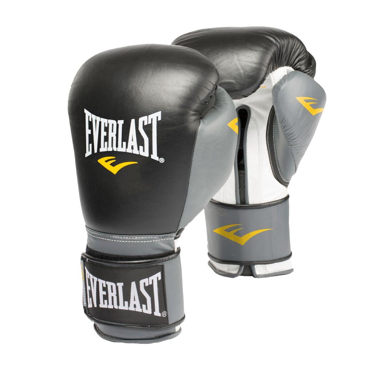 Professional Powerlock Training Boxing Gloves in White//Silver Everlast 12oz