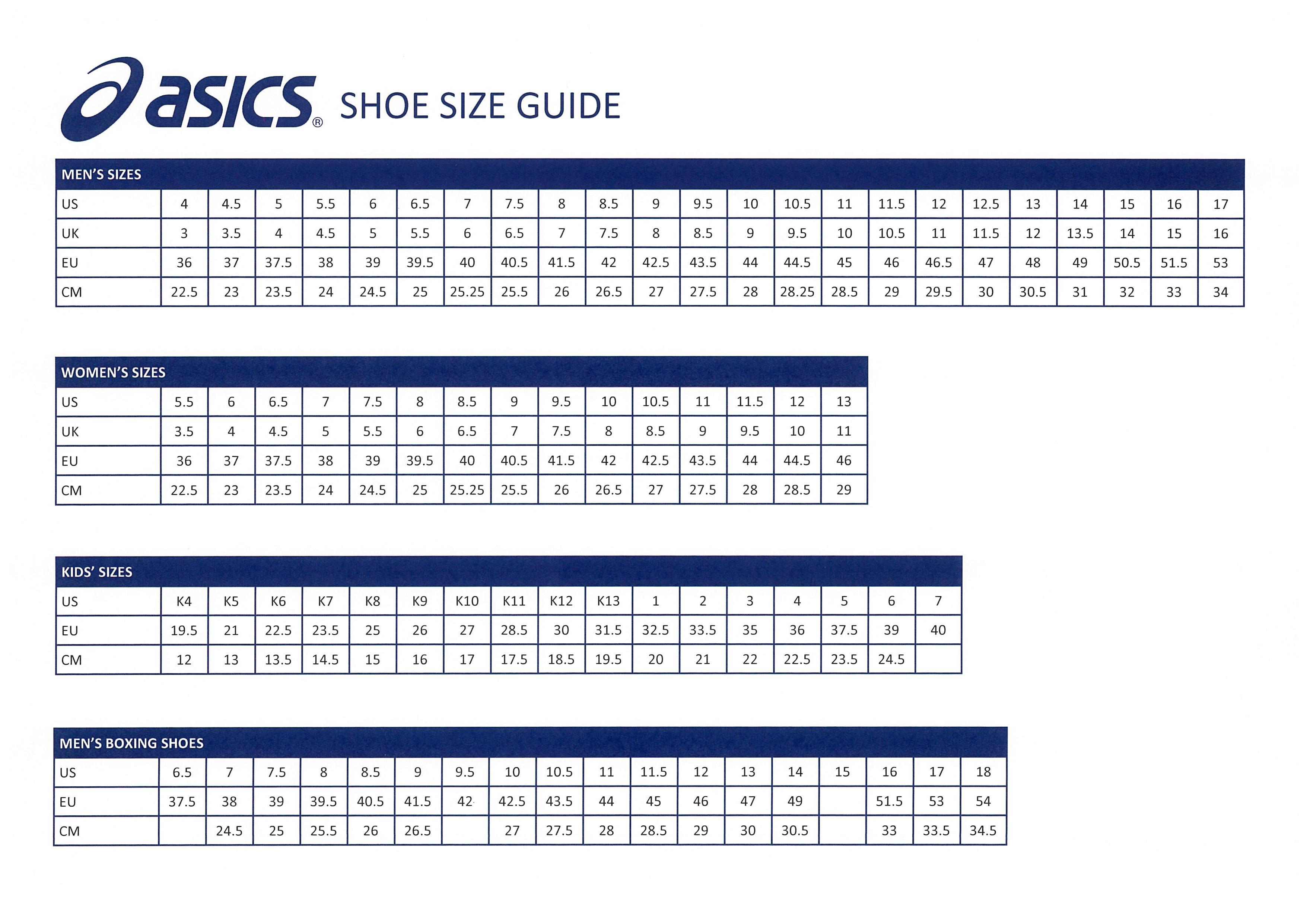 Asics Shoe Size Guide - Giri Martial Arts Supplies